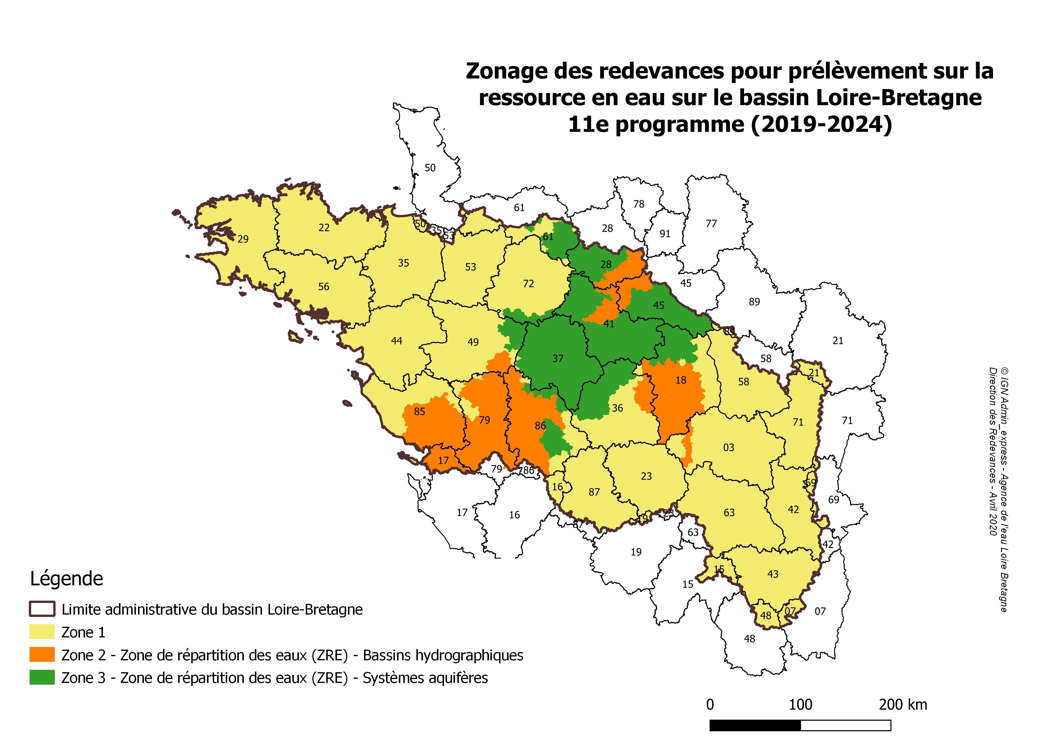 Zonage des redevances pour prélèvement sur la ressource en eau - 11e programme